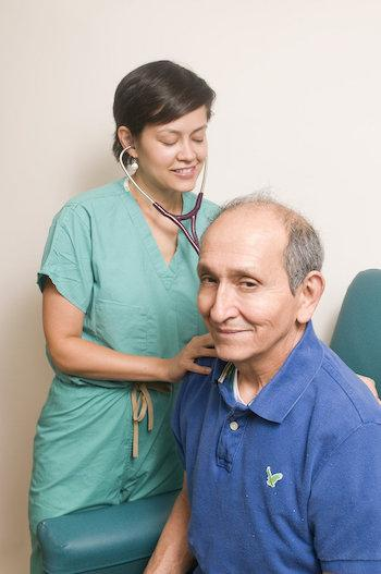 elderly man with nurse