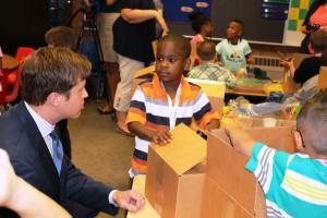 David McDivvit delivers school supplies